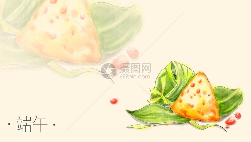 端午粽子手绘水彩插画图片
