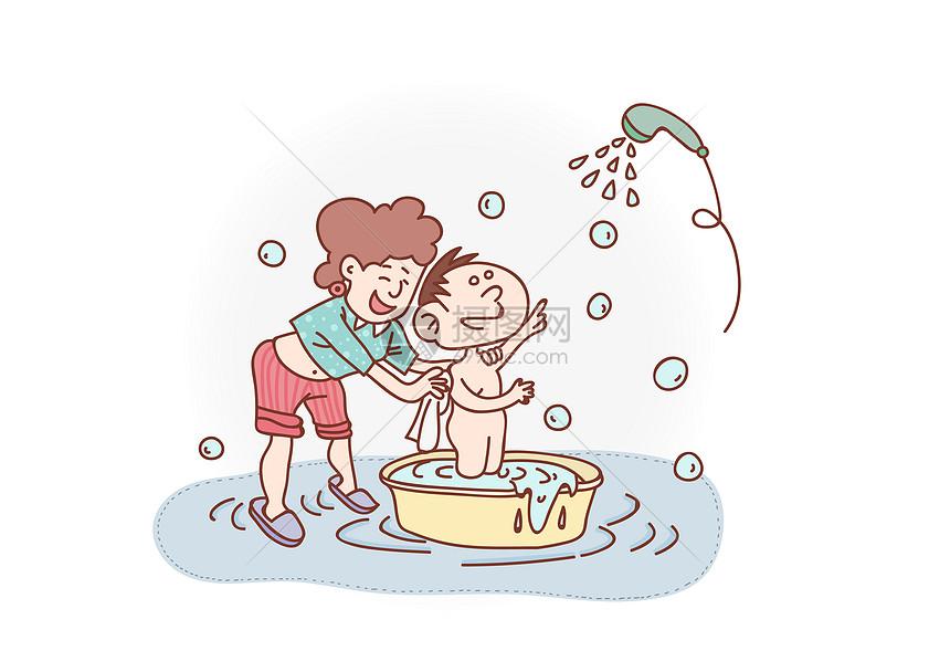 儿童洗澡图片