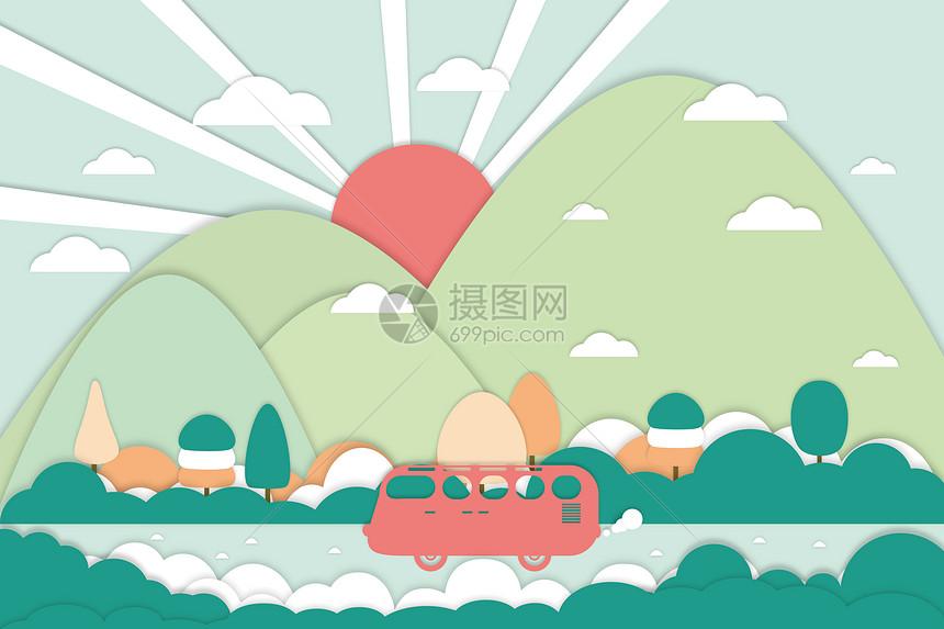 旅行剪纸风图片