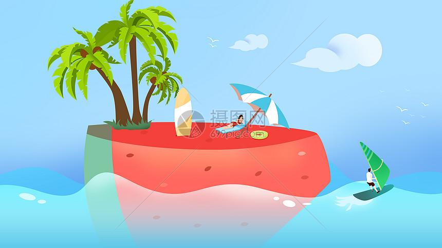 清爽夏日西瓜小岛图片