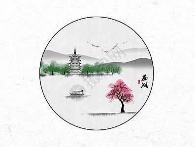 西湖中国风水墨画图片