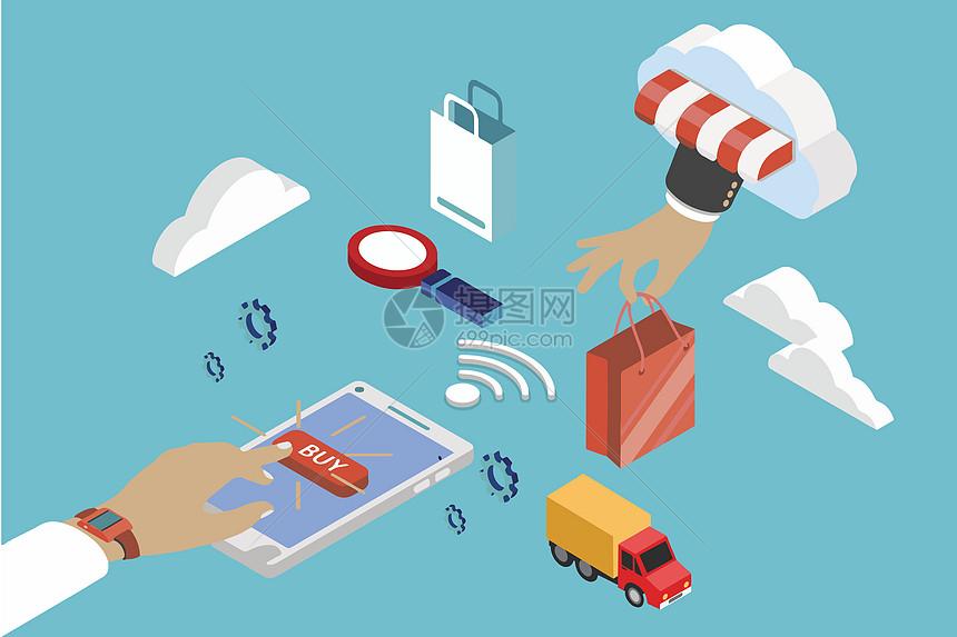 互联网购物背景素材图片