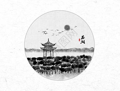 西湖风景中国风水墨画图片