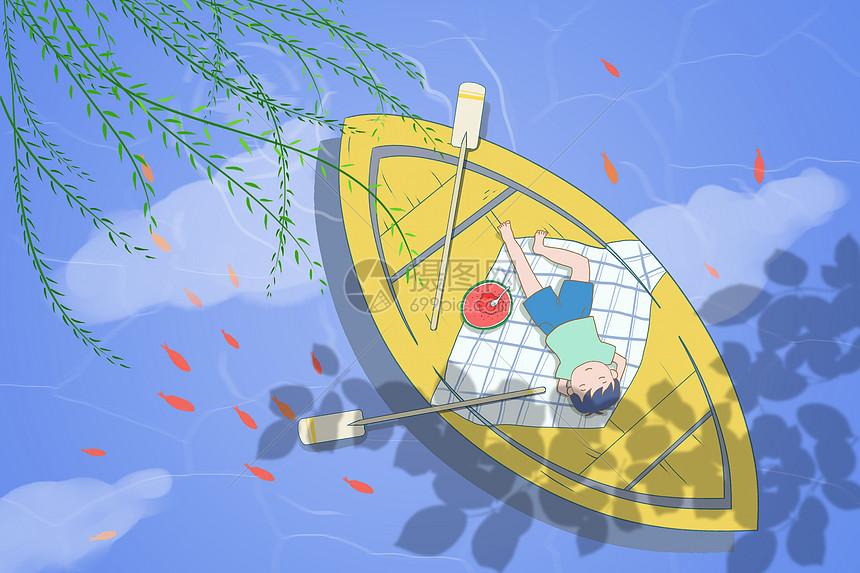 夏天划船图片