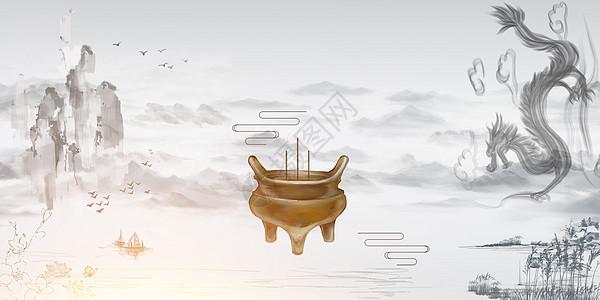 中古风茶艺背景图片