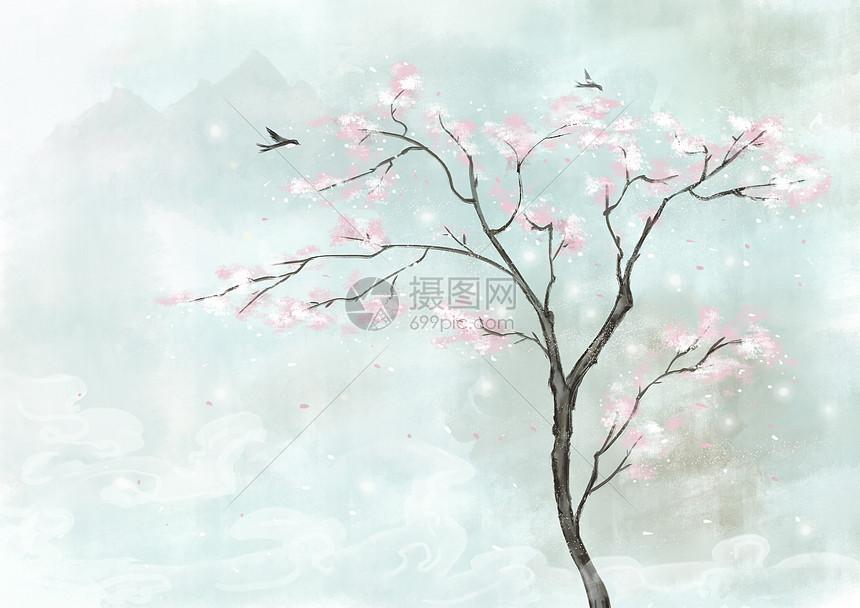 唯美水彩中国风背景图片