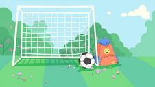 绿色清新足球球门插画图片