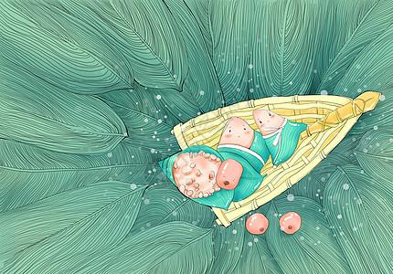 手绘端午粽子Q版绿色船图片