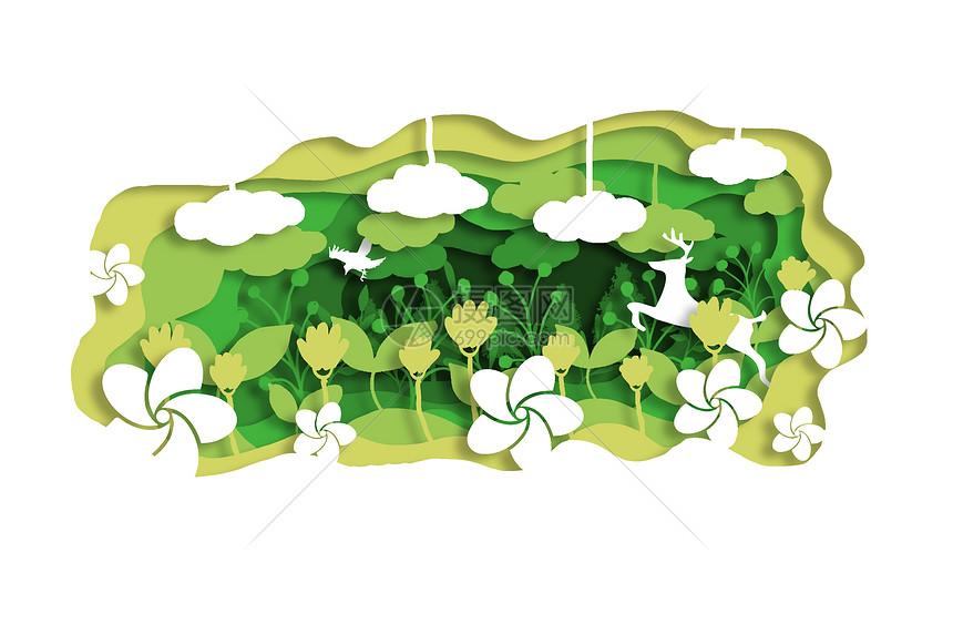 创意绿色花草立体剪纸图片
