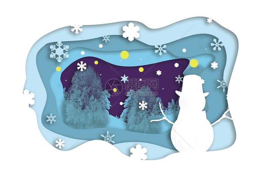 蓝色冬季景色立体剪纸图片