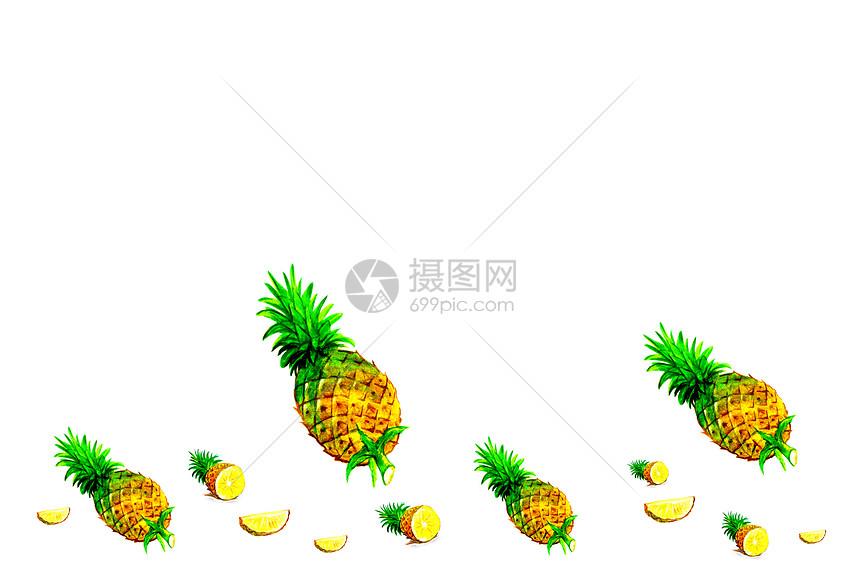 菠萝二分之一留白背景图片