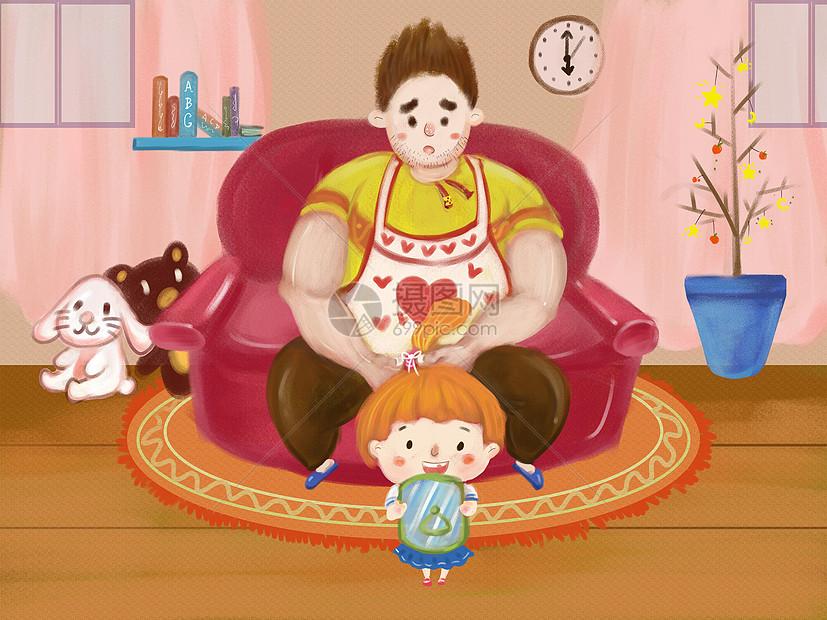 父亲为女儿梳头发图片
