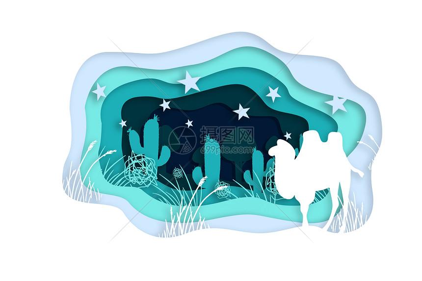 花草骆驼立体剪纸图片
