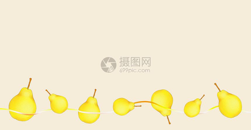 美味水果香梨场景插画图片