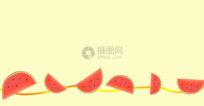 夏季西瓜背景插画图片
