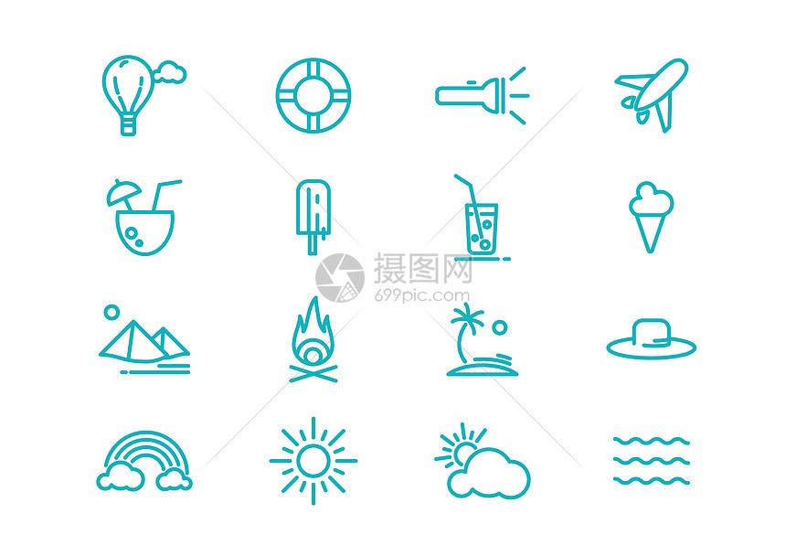 夏季旅游图标图片