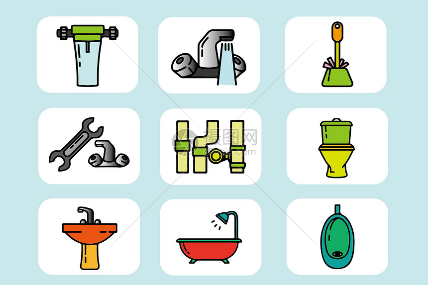 家庭浴室类图标图片