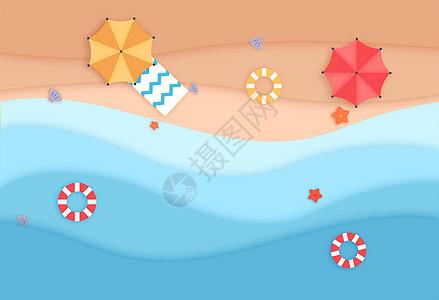 沙滩俯视矢量插画图片