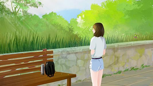 草丛前的女孩图片