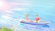 我们在小船上图片