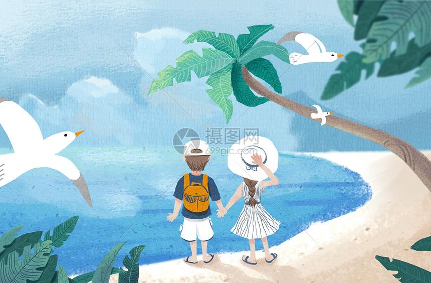 海边旅行插画图片