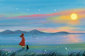旅途中看日落的女孩图片