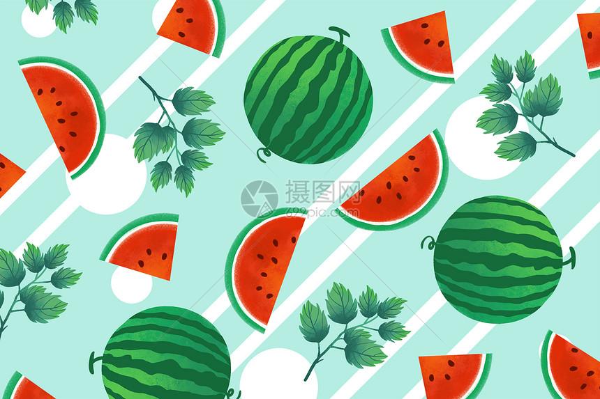 夏天清新西瓜背景图片