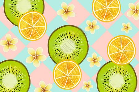 小清新猕猴桃与橙子背景高清图片