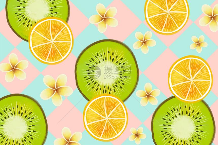 小清新猕猴桃与橙子背景图片