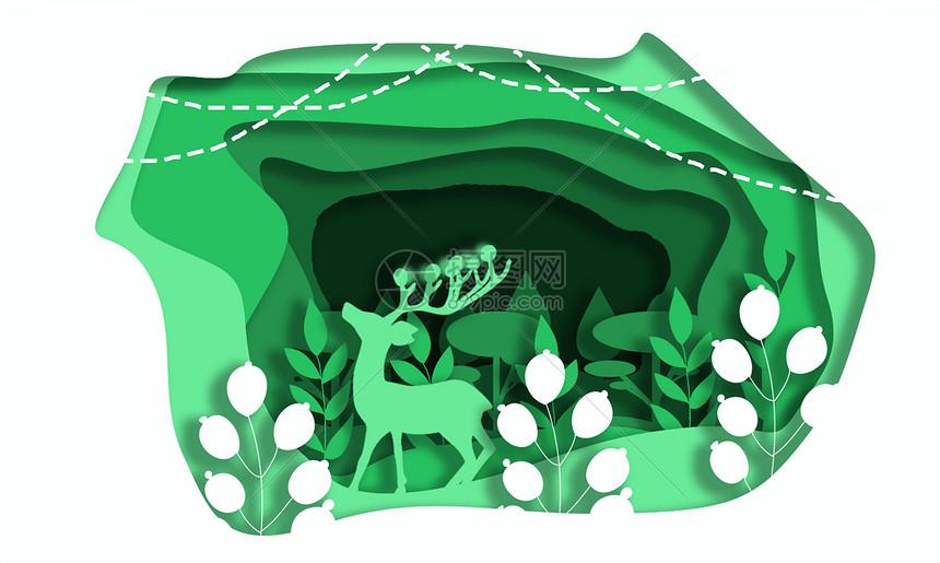 绿色花草小鹿立体剪纸图片