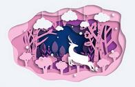 粉色森林小鹿立体剪纸图片