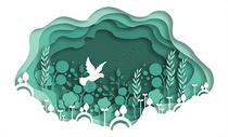 绿色动物植物立体剪纸图片