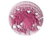 紫色花草花卉立体剪纸图片