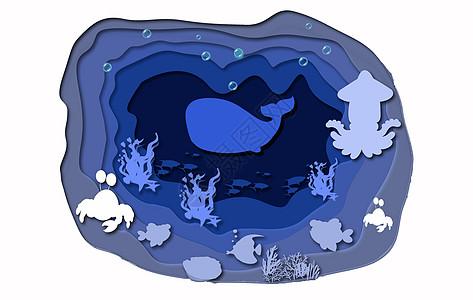 绿色海底动物立体剪纸图片