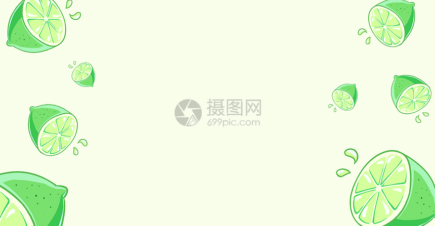 清新绿色柠檬插画图片