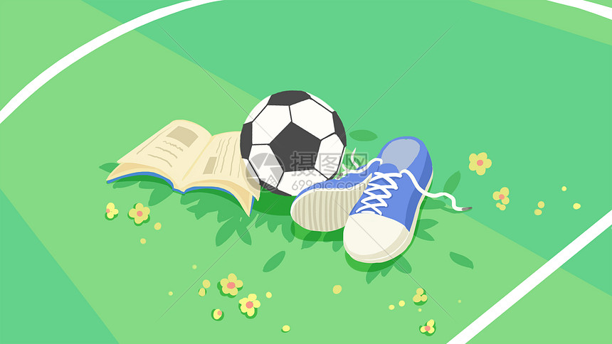 绿色清新足球场场景插画图片