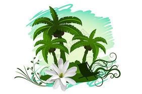 热带风景插画图片