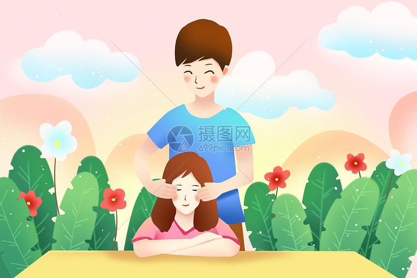 唯美校园爱情插画图片