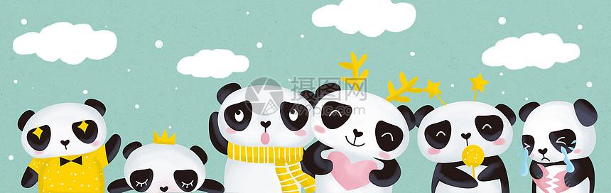 手绘卡通熊猫图片