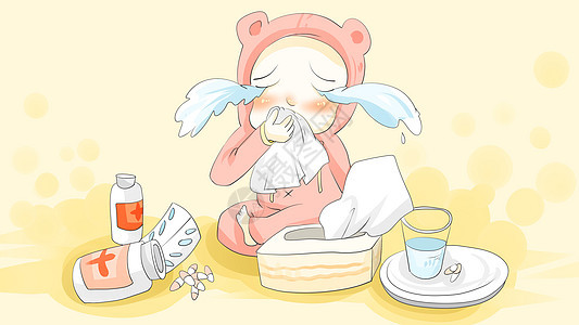儿童生病感冒图片