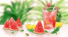冰爽西瓜汁插画图片