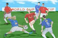 世界杯踢足球插画图片
