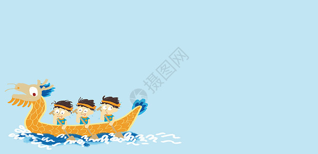 手绘赛龙舟背景高清图片