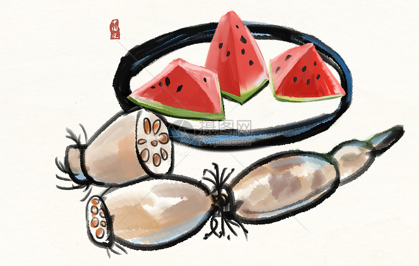 西瓜和藕插画图片