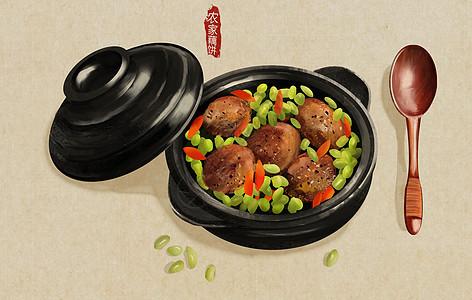农家藕饼美食插画图片