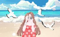 夏日海边旅行图片
