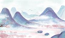 小清新山水插画图片