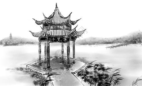 西湖集贤亭图片