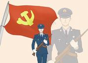 军人和旗帜图片
