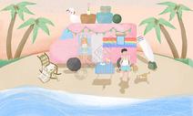 海滩度假旅游插画图片